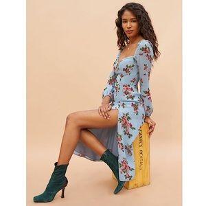 REFORMATION Gulia Midi Dress blue floral long sleeves